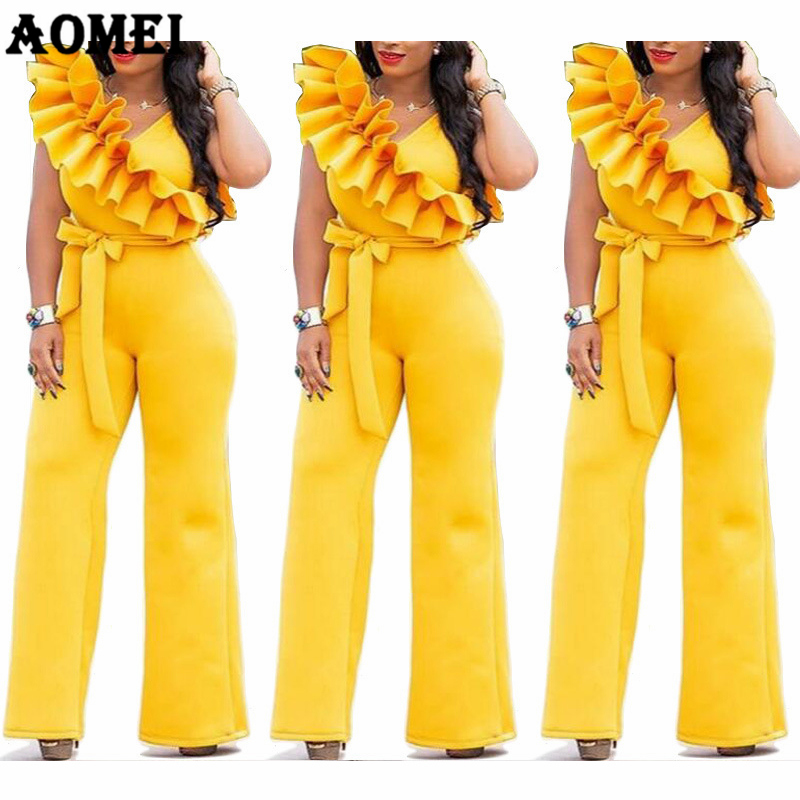 Women Overalls Yellow Jumpsuit Ruffles With Waist Belt Elegant Femme Office Wear Casual European America Clothing Plus Size 2XL