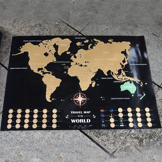 Free ship personalized world adventure map black gold easy foil free ship personalized world adventure map black gold easy foil layer coating poster travel world maps gumiabroncs Images