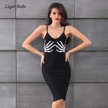 Leger Babe Women Vestido Sexy Black Bandage Dress Spaghetti Strap Knee-Length  Split Club Bodycon Casual Halloween Party Dresses 3ac4baf91dbe