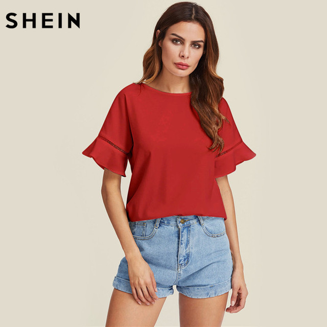 SHEIN Ladder Lace Insert Trumpet Sleeve Top Summer Womens Blouses Plain Red  Short Sleeve Casual 2017 4a6d5c506