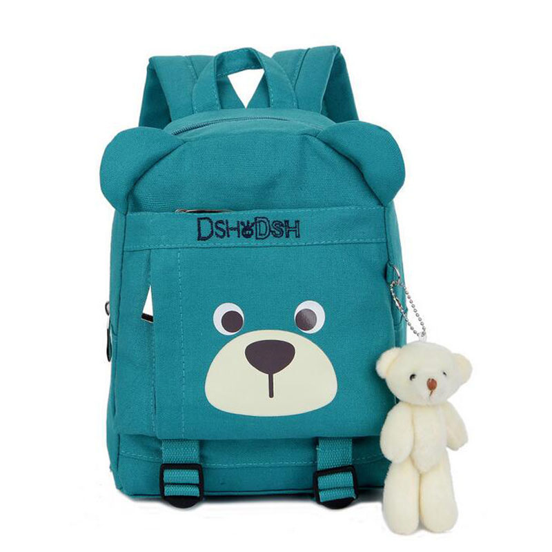 2017 Cute Cartoon Bear Dolls Canvas School Backpack For Children Mini Baby Toddler BookBag For Boys And Girls Mochila  Rucksacks