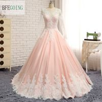 Pink Tulle Ivory Lace A Line Wedding Dress Court Train V Neck Long Sleeves Bridal Gowns