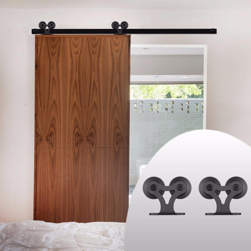 LWZH BRICOLAGE Carton Acier Coulissante Grange Quincaillerie De Porte Kit Noir T-En Forme avec Deux Rouleaux pour Intérieur Coulissant Unique porte