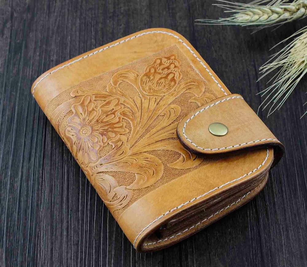 Hecho a mano occidental billetera de cuero de los hombres de jinete de Rodeo de cuero talla bolso WZ3-in Carteras from Maletas y bolsas    1