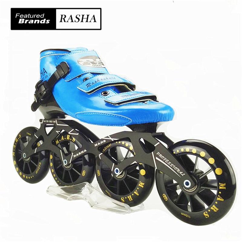 Prix pour Rasha vitesse skate main inline chaussures de patinage bleu inline rouleau de vitesse de patinage chaussures