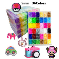5mm 36 Colors 10000pcs Hama Beads Set Toy DIY 3D Mini Perler Beads Template Learning Toys For Children Boards