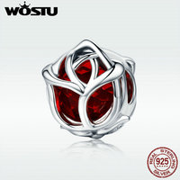 WOSTU Romantic 100 925 Sterling Silver Rose Flower Red Crystal Charm Beads Fit Women Charm Bracelet