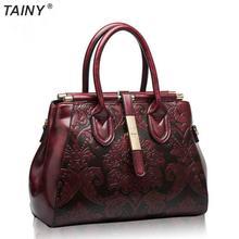 TAINY 2017 Fashion Genuine Leather Vintage Elegant Women Handbag Shoulder Bag  Messenger Bags Tote Bag
