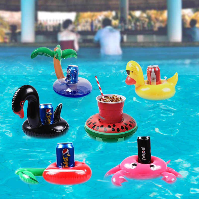 Inflatable Cup Holder Aksesoris Kolam Renang Minum Mengambang Flamingo Donat Signet Ring Pesta Mainan Beach Bar Mini
