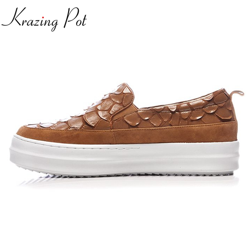 Krazing Pot kid suede high fashions round toe sneaker causal shoes classic individuatio style rivets women vulcanized shoes L69