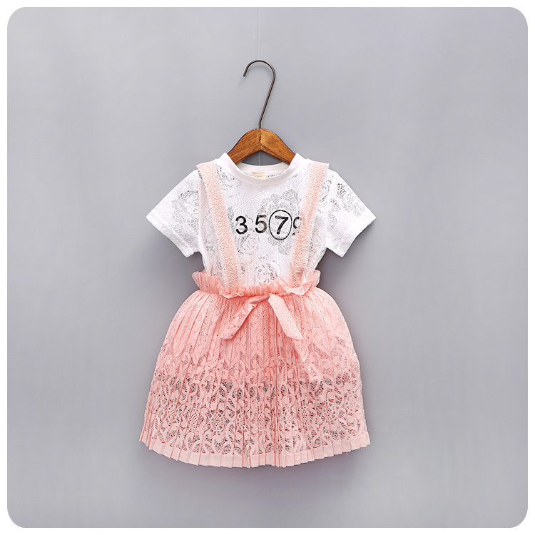 Korean 16 Girl Children's Garment Summer Wear New Lace Short Sleeve Pity Unlined Fungus Edge Straps 2 Pieces Suit