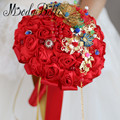 2017 Traditional Chinese Bride Wedding Bouquets Red Satin Rose Bridal Bouquets Gold Accessories Casamento Buque Jewellery