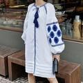 2017 New Fashion Spring Dress Women Vintage Ethnic Long Lantern Sleeve Embroidery Lace Up Plus Size Beach Dress Vestido De Festa