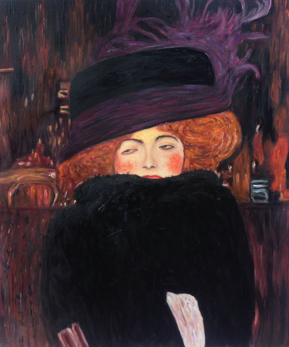 Museum Quality Gustav Klimt s Oil Painting Reproductions Lady with font b Hat b font and