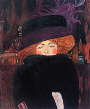 Museum Quality Gustav Klimt's Oil Painting Reproductions – Lady with Hat and Feather Boa Woman Portrait Painting on Canvas