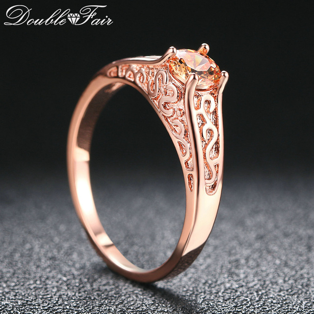 Double Fair New Rings For Women Princess Cut Orange Crystal Engagement Ring Rose