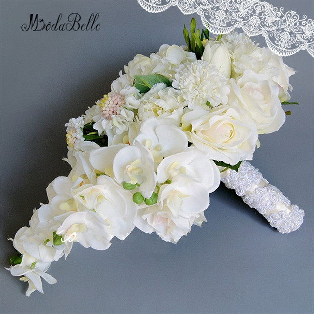 modabelle New White Wedding Bouquets For Brides Artificial Waterfall Pearl Flowers Bridal Brooch Bouquet Bridesmaid Bouquets