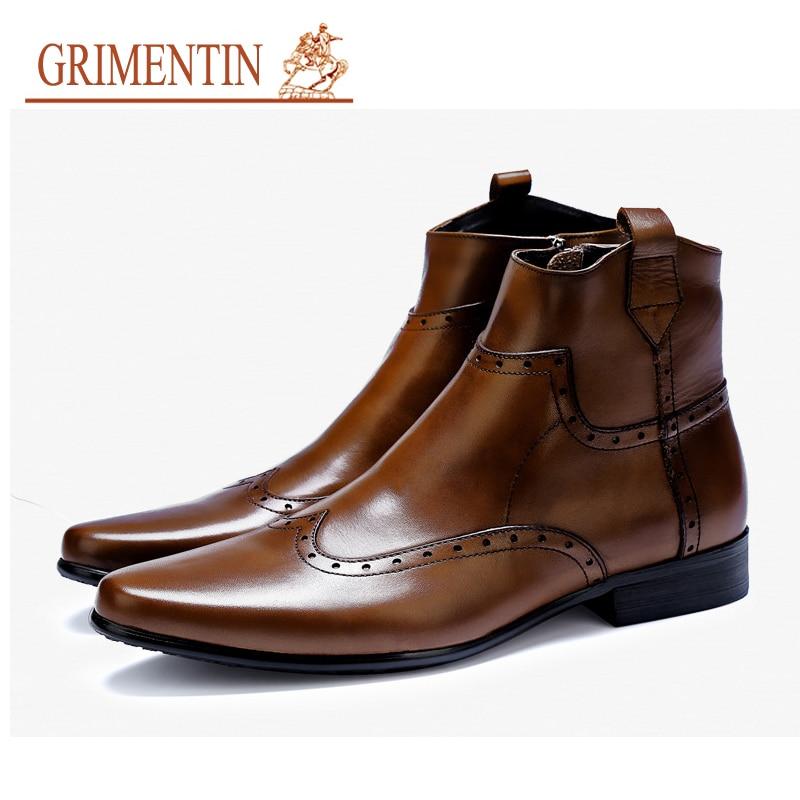 GRIMENTIN 2019 новые Лидер продаж мужские сапоги натуральная кожа модные высокие мужские ботинки обувь бренда плюс размер ботинок размер: 6 12
