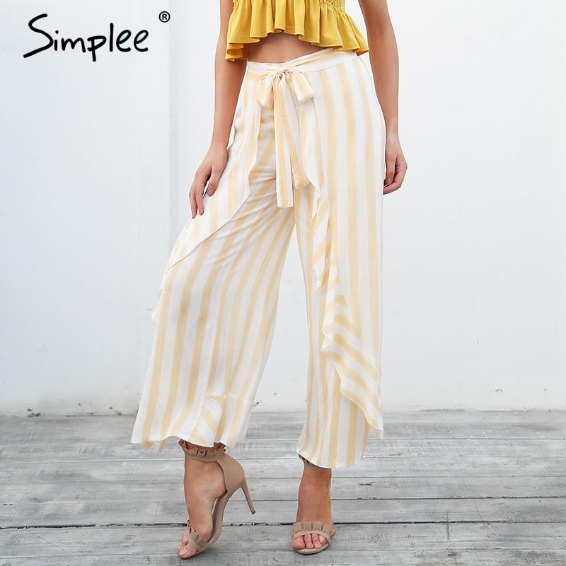 Simplee Stripe Split Wide Leg Pants Women Bottom Sash Ruffle High Waist Trousers Summer Beach Casual Pants Female 2019