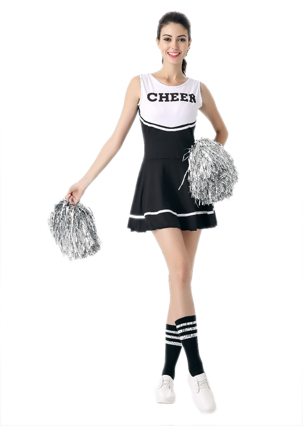 Cheerleader Costume Women - Black White Sport Fancy Sexy Cheerleader Dress Cheer Uniforms For Girls Party Outfit