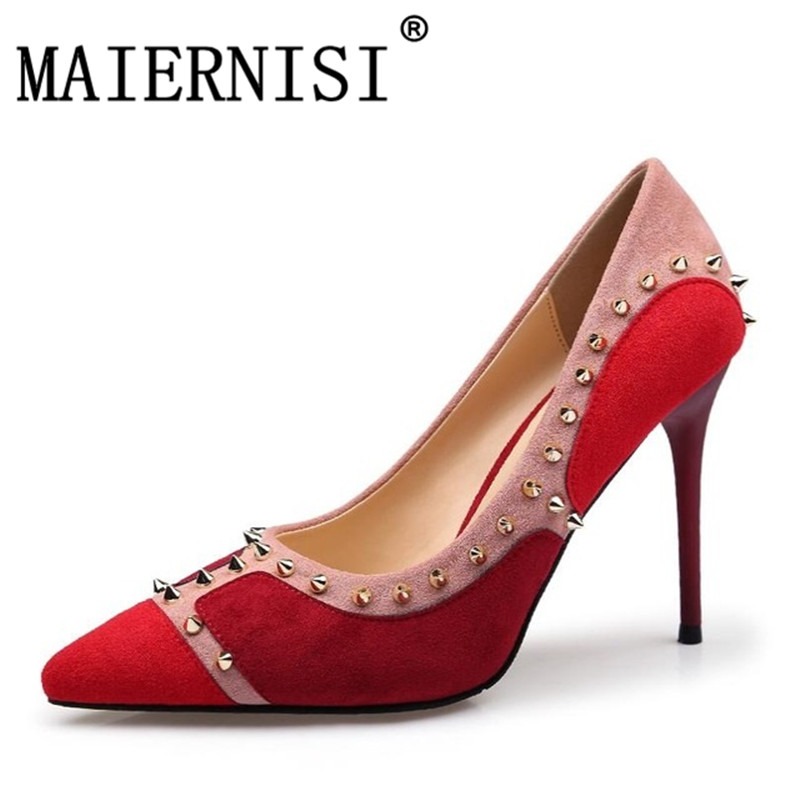 Sexy Dames Robe Pointu Rouge Rivets Chaussures Avec rouge Talon Pompes Des Talons Noir Bout Femmes Mince xpRwp4