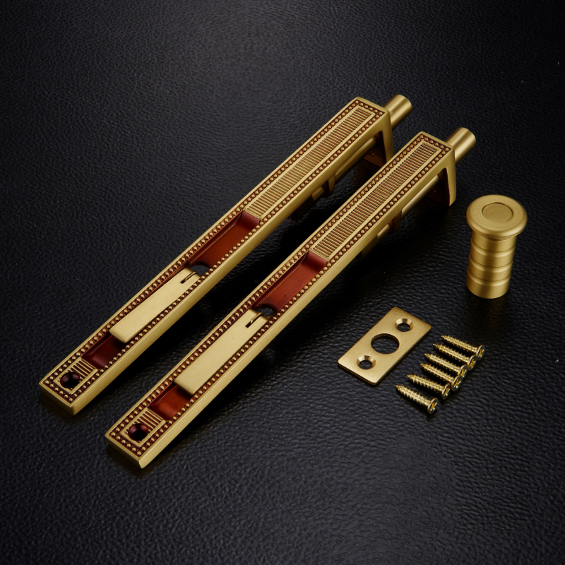 8 Inch solid Brass Security Door Bolts Lever Action Door Latch Bolts For Unequal Double Door