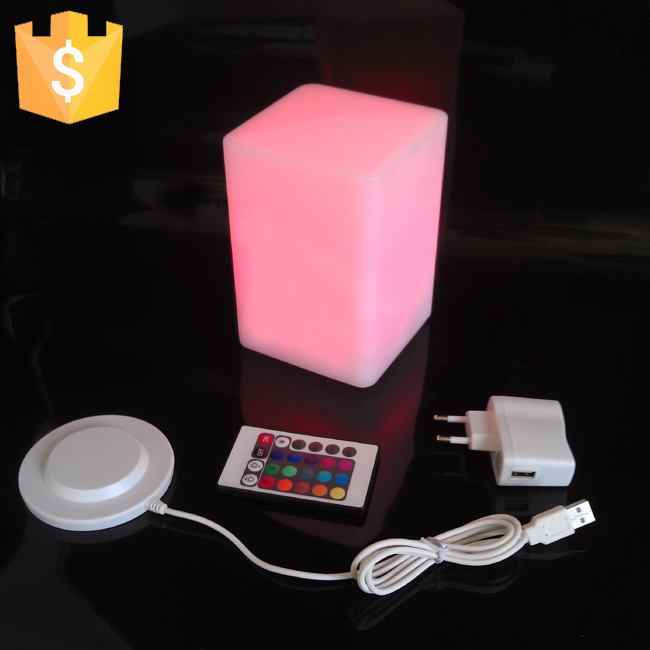 D10*H15cm Light LED Square Light-emitting Bar Stool Cube Colorful Color PE Four-emitting Furniture Creative Free Shipping 50pcs
