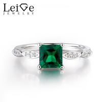 Leige Jewelry Emerald Gemstone Green Color Anniversary Ring Square Shape Prong Setting Lovely Mother's Day Gifts May Birthstone