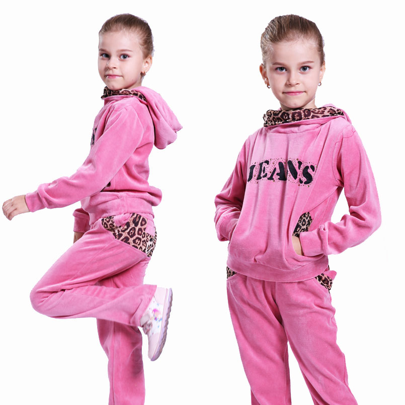 Kids Sports Suit for Girls Tracksuit 6 8 9 10 11 12 Years Velvet Leopard Long Sleeve Girl Sweatsuit Autumn Children Clothing Set children s clothing set autumn sports suit korean tide casual for 4 5 6 7 8 9 10 11 12 13 years girl baseball uniform sportswear