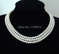Fashion charming Ziemlich großhandel schmuck 3 Reihen 8-9mm Weiß Akoya Perlenkette AAA Grade Hand Gemacht Geschenke Für Mädchen Frauen W0238
