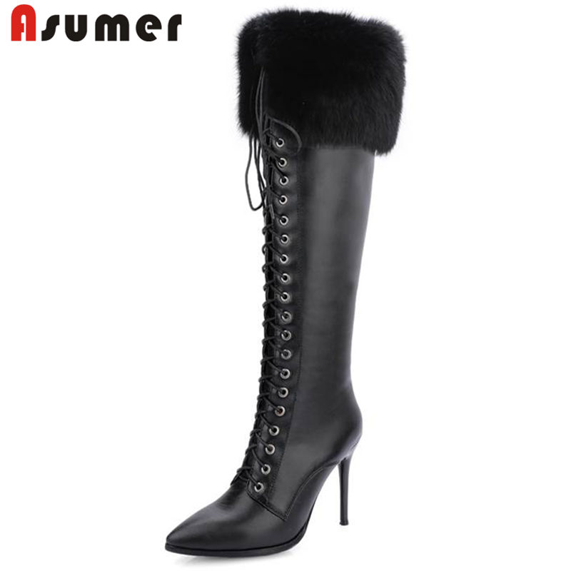 ASUMER 2018 NEW fashione fur knee high boots women quality PU+genuine leather boots high heels winter autumn bootsASUMER 2018 NEW fashione fur knee high boots women quality PU+genuine leather boots high heels winter autumn boots
