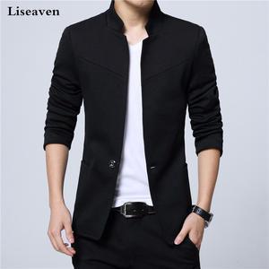 Liseaven Blazer Men Jackets Slim-Fit Black Male Stand-Collar Plus-Size 5XL