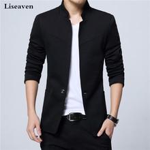 Liseaven Blazer แจ็คเก็ตชาย STAND COLLAR ชาย SLIM FIT Mens Blazer เสื้อแจ็คเก็ตสีดำชาย PLUS ขนาด 5XL