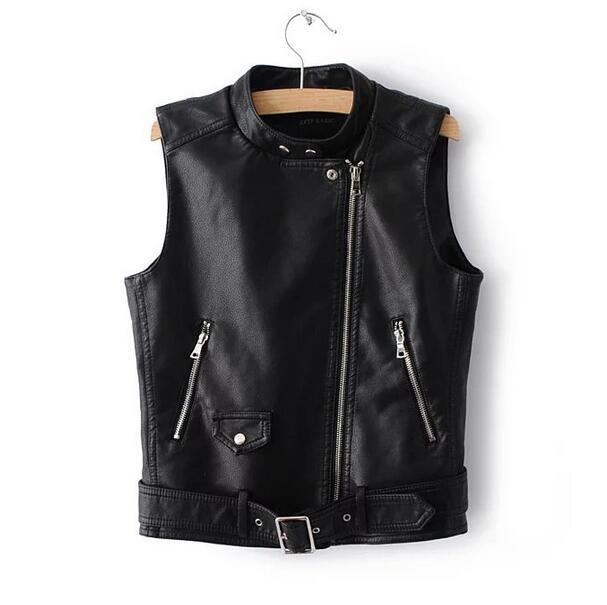 Women fashion PU slim vest female stand collar belt short design cool motorcycle waistcoat tops T449