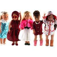 Hohe Qualität Puppe Kleidung Satz Umfassen Puppe Zubehör Kleid Regenmantel Hut Schal etc Passt 18 zoll American Girl Puppe