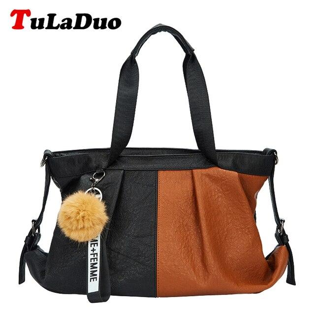 01b27f928a38 Fashion Patchwork Large Soft Shoulder Bag Designer Women Handbag Female PU  Leather Bags Handbags Ladies Hobos