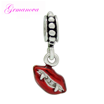Vampire charm beads Halloween red lips fangs pendant amulet original brand design jewelry Fit Pandora Bracelet Necklace image