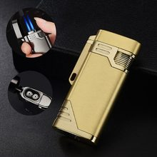 Portable Personality Ultra-thin Metal Butane Inflatable Lighter Windproof Gas Small Spray Gun Cigar Cigarette