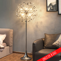 Ganeed Fashion Modern crystal Floor lamp living room bedroom lamps French stand Stainless steel stand light metal flower lamp