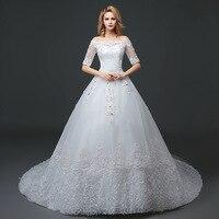 Vivian's Bridal 2018 Off Shoulder Women Bridal Dress Floor length Floral Appliques Elegant Luxury Customized Wedding Gown