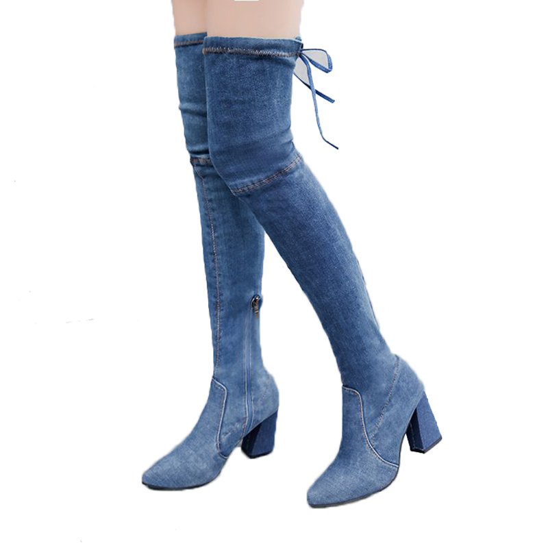 Genou Dark Nouvelles Hauts Blue Chunky Haute 2018 Bootie Bottes À Rumbidzo Denim Jeans Lacets Blue Sur Femmes light Carré Bleu Talons BwqxT0A