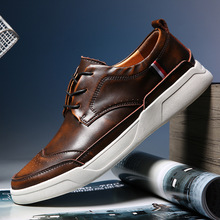 2018 High Quality men Leather shoesmen Casual Shoes Mens Brogue Shoes Loafers Fashion Sneakers