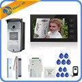 7 дюймов Сенсорный экран ЖК-дисплей Цвет видео-телефон двери домофон Системы 1 монитор + 1 RFID Доступа HD Камера + Электрический магнитный замок