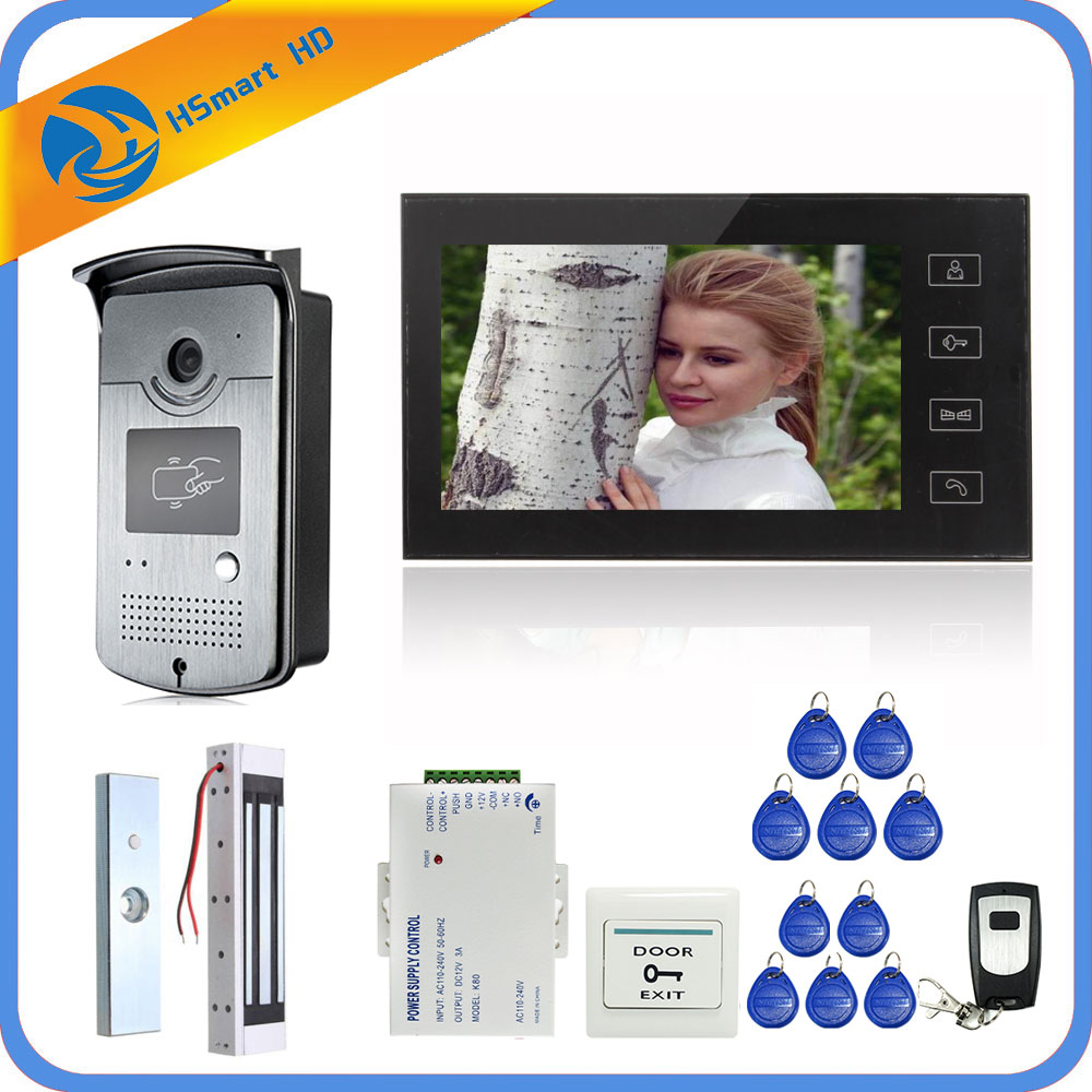 7 Inch Touch Screen LCD Color Video Door Phone Intercom Entry System 1 Monitor+1 RFID Access HD Camera+Electric Magnetic Lock