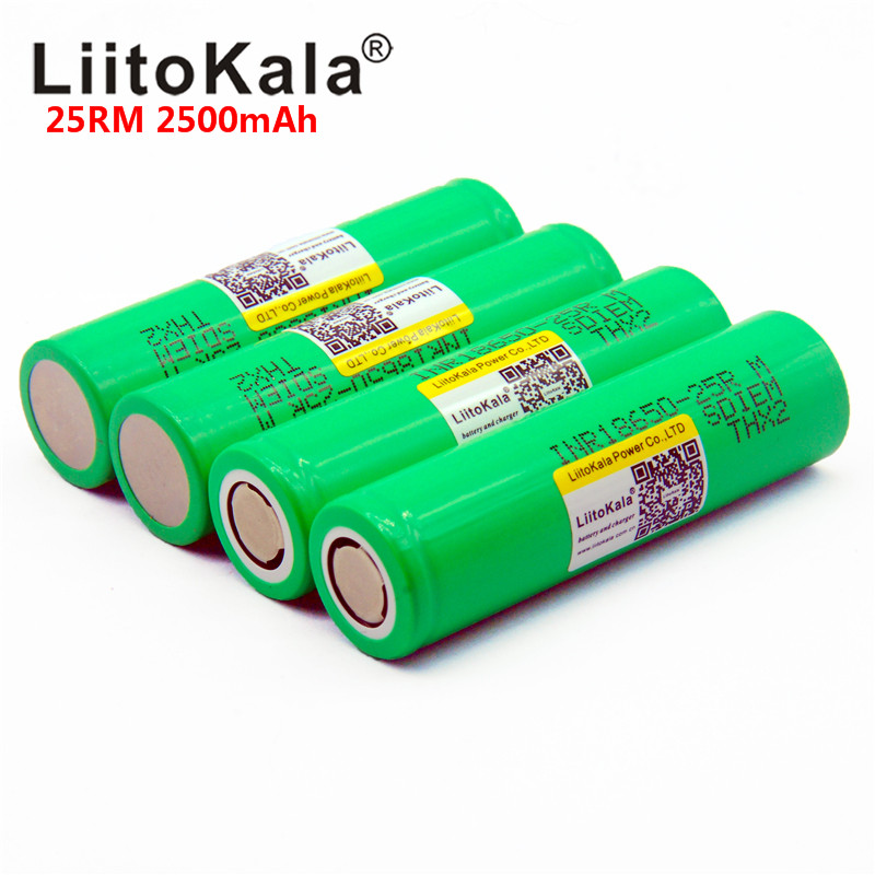 2019 NEW 100PCS liitokala 18650 2500mah lithium battery 25r inr1865025r 20a battery for electronic cigarette Free