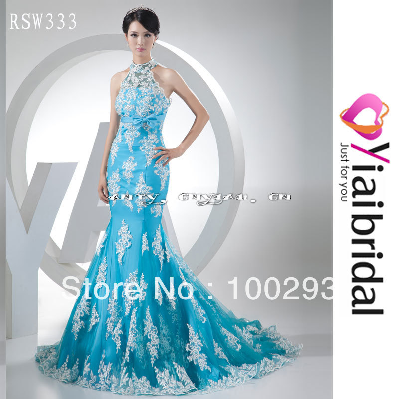Popular blue and white wedding dresses buy cheap blue and for Light blue lace wedding dress
