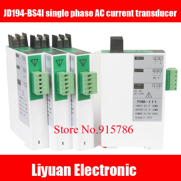 JD194-BS4I Single Phase AC Current Transducer / 0-5A / 4-20mA Isolated Modules / 0-10A Voltage Transducer