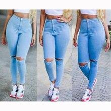 40% Y6017YZ Летние дамы высокой талии сексуальные обтягивающие джинсы отдых был тонкий отверстие моды карандаши маленькие ноги ковбой