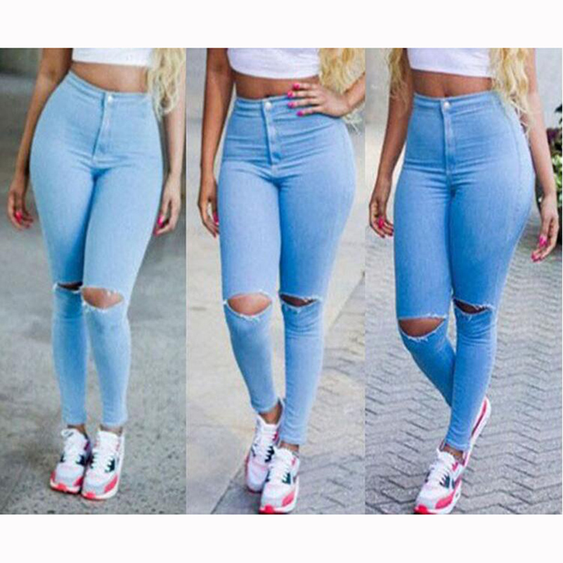 Sexy Ripped Jeans For Women High Waist Slim Blue Boyfriend Jeans Leisure Hole Skinny Pencil Pants Summer Denim Pants 40@Y6017B omilka women ripped boyfriend jeans 2017 mid waist hole knee skinny pencil pant slim elastic cut out white denim jeans for women