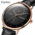 Fantor мужские топ брендовые Роскошные повседневные деловые часы из натуральной кожи водонепроницаемые кварцевые наручные часы с хронографо...
